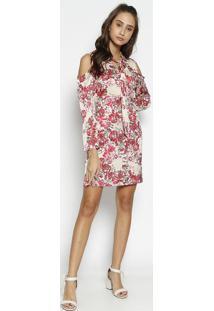Vestido Floral Com Recortes Vazados & Babados - Bege & Rmoisele