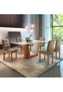 Conjunto De Mesa De Jantar Com 6 Cadeiras Viggor Ll Jacquard Off White E Marrom