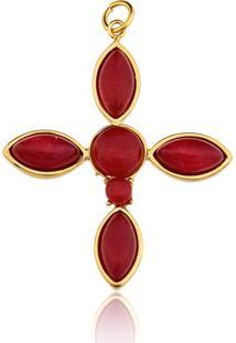 Pingente Toque De Joia Cruz Com Pedra Natural Jade Vermelha Amarelo - Tricae