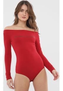 Body Calvin Klein Jeans Lettering Vermelho