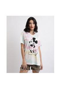 Blusa Feminina Mickey Estampada Tie Dye Manga Curta Decote Redondo Branca