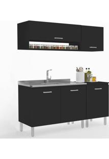 Cozinha Compacta Uccelli 5 Portas 600071 Preto - Vedere