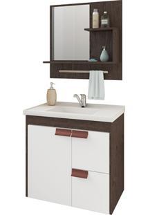 Gabinete Suspenso Para Banheiro Tulipa Com Espelho 59X35,5Cm Café E Branco