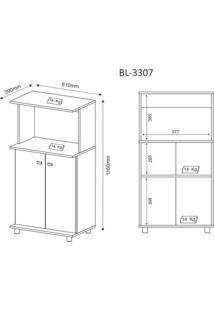 Balcão Para Forno E Microondas Bl3307 Tecno Mobili Branco