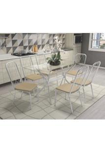 Conjunto De Mesa Vidro Loire Com 6 Cadeiras Viena Crome Kappesberg Cromado/Nude