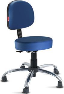 Cadeira Mocho Azul Noturno Secretária Cromada
