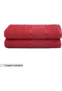 Toalha De Banho Em Relevo- Vermelha- 60X130Cm- Ccamesa