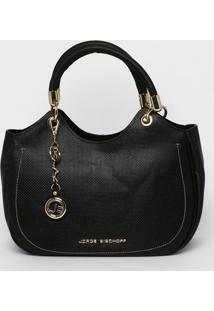 Bolsa Em Couro Texturizada Com Tag- Preta- 27X34X24Cjorge Bischoff