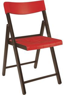 Cadeira Dobrável Tramontina Potenza 13792084 Tabaco E Vermelha