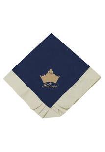 Manta Enxoval Piquet Padroeira Baby Príncipe Luxo Azul Marinho..