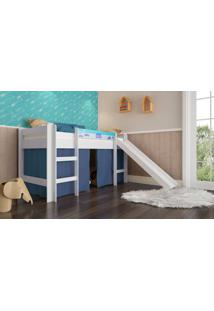 Cama Elevada Completa Moveis Bb 880 Com Escorregador Branco Azul Se