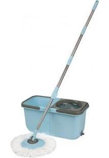Kit Spin Mop De Limpeza Com Esfregao Vassoura E Balde Com Centrifugador Em Inox Completo Mop Com Rotação 360º + Refil