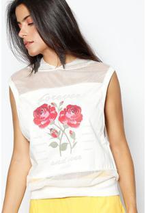 Blusa Em Moletinho Com Tela - Off White & Vermelha- Aha