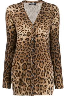 Dolce & Gabbana Cardigan Animal Print - Marrom