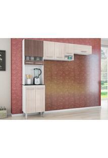 Cozinha Com 8 Portas Isadora Amêndoa/Capuccino - Lc Móveis