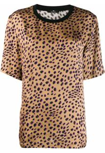 Ps Paul Smith Blusa De Cetim Com Animal Print - Marrom