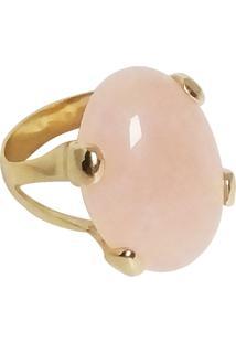 Anel Pedra Natural Oval Semijoia Banho De Ouro 18K Quartzo Rosa - Kanui