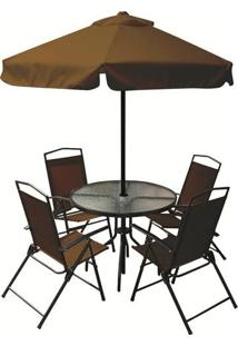 Conjunto Miami 4 Cadeiras Textiline + Mesa + Guarda Sol Café