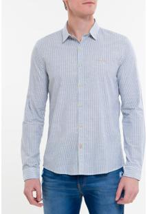Camisa Ml Ckj Masc Listrada Com Silk Log - Azul Claro - M