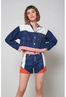 Bermuda Jeans Mix Tecidos Jeans - Oh, Boy! Feminina - Feminino