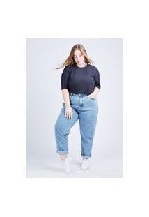 Calça Mom Jeans Marmorizado Gang Plus Size Feminina