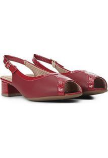 Peep Toe Piccadilly Chanel Recortes Salto Baixo - Feminino-Vermelho
