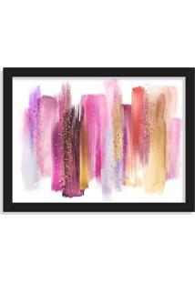 Quadro Decorativo Pincel Rosa Maquiagem Preto - Médio