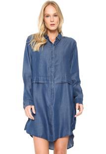 Vestido Jeans Cantão Curto Chemise Azul