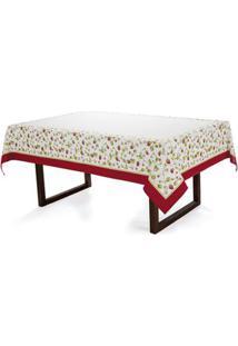Toalha De Mesa Karsten Branco/Vermelho
