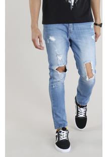 Calça Jeans Masculina Carrot Destroyed Azul Claro