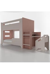 Conjunto Lumi - Beliche+Escrivaninha Rosa Timber - Tricae