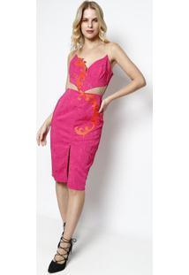 Vestido Texturizado Com Renda- Pink & Laranja- Charrcharry