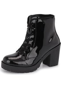 Bota Tratorada Cano Baixo Cr Shoes Salto Verniz 1700 Preto