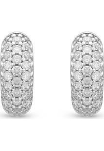 Brinco Ouro Branco E Diamantes