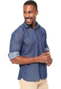 Camisa Jeans Aleatory Slim Azul