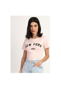 "Blusa Feminina New York"" Manga Curta Decote Redondo Rosa"""