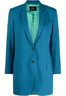 Ps Paul Smith Blazer Com Abotoamento Simples De Lã Virgem - Azul