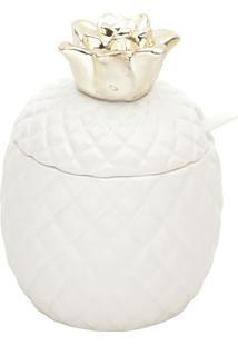 Açucareiro Abacaxi Com Colher- Branco & Dourado- 12Xlyor