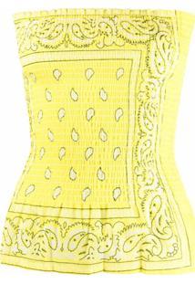 Arizona Love Blusa Com Estampa Bandana E Ombros Vazados - Amarelo