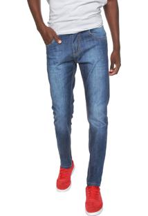 Calça Jeans Rock Blue Slim Estonada Azul