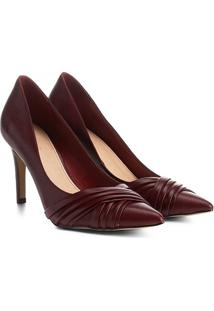 Scarpin Couro Shoestock Salto Alto Drapeado - Feminino-Bordô