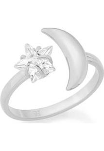 Anel Skinny Ring Ajustável Lua Com Zircônia Rommanel - Feminino-Prata