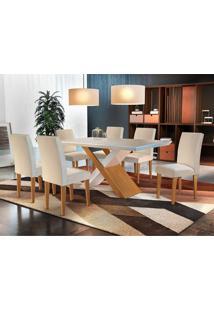 Conjunto De Mesa De Jantar Imperatriz Com 6 Cadeiras Estofadas Grécia I Veludo Off White E Creme
