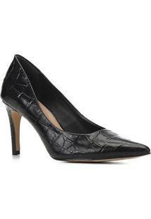 Scarpin Couro Shoestock Graciela Croco Salto Alto - Feminino-Preto