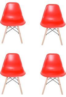 Kit 04 Cadeiras Facthus Eiffel Charles Eames Em Abs Com Base De Madeira Dsw Vermelho