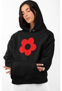 Blusa Moletom Feminino Gintropical Flor Em Algodão Com Capuz - Feminino