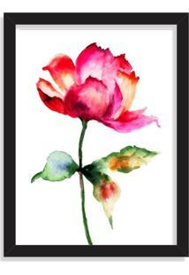 Quadro Decorativo Rosa Abstrata Vermelha Pintura Preto - Médio