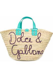 Dolce & Gabbana Bolsa Tote De Palha Com Logo - Neutro