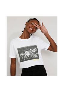 Camiseta Feminina Manga Curta Da Banda Queen Ampla Decote Redondo Off White
