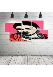 Quadro Decorativo - Frida-Pink-(2) - Composto De 5 Quadros - Multicolorido - Dafiti
